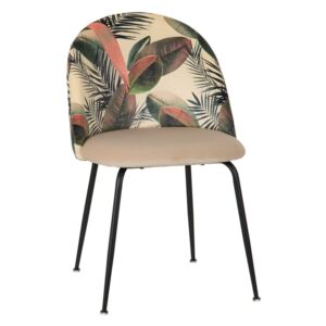 Scaun dining cu imprimeu Chair Cream Leaves