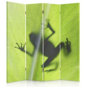 CARO Paravan - Frog On A Green Leaf | cvadripartit | unilateral 145x150 cm
