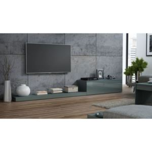 Comoda TV living Life, gri lucios, structura din pal si front din MDF, 300x42x35 cm lxAxh