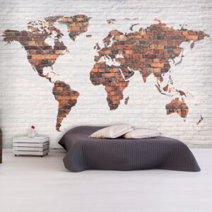 Fototapet Bimago - World Map: Brick Wall + Adeziv gratuit 150x105 cm