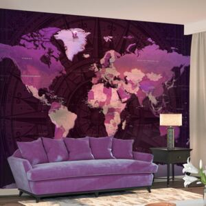 Fototapet Bimago - Purple World Map + Adeziv gratuit 200x140 cm