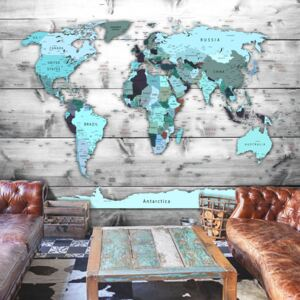 Fototapet Bimago - World Map: Blue Continents + Adeziv gratuit 200x140 cm