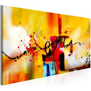 Tablou pe pânză - Street Melodies (1 Part) Orange Wide 120x60 cm