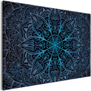 Tablou pe pânză - Oriental Flowers (1 Part) Narrow Blue 90x60 cm
