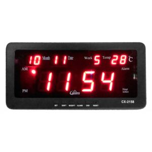 Ceas digital LED CX-2158 cu functie de alarma, data, temperatura