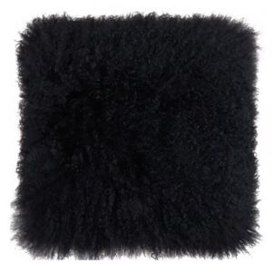 Perna decorativa patrata neagra din blana si poliester 40x40 cm Tibetan Lamb Fur LifeStyle Home Collection