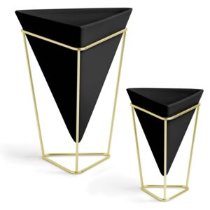 Set 2 Vase decorative geometrice TRIGG - Negru/Auriu