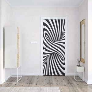 GLIX Tapet netesute pe usă - 3D Black And White Twister