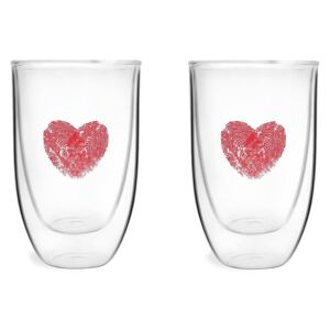Set 2 pahare din sticlă dublă Vialli design, 350 ml