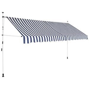 Copertină retractabilă manual, 350 cm, dungi albas