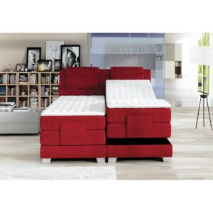 Pat cu 2 saltele WAVE, boxspring, suprafata de odihna: 160x200, cadru din lemn masiv, baza pocket, saltea pocket, topper de 4 cm, mecanism electric de reglare a saltelei, picioare metalice, multicolor, 215x168x112 LxlxH