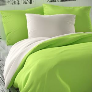 Lenjerie pat 1 pers. Luxury Collection, satin, alb/verde des., 140 x 200 cm, 70 x 90 cm