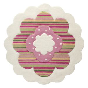 Covor Copii & Tineret Flower Shape, Acril, Rotund, Multicolor, 100x100