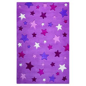 Covor Copii & Tineret Simple Stars, Acril, Mov, 130x190