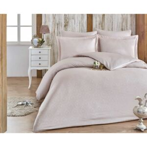 Lenjerie pat jacquard, Exclusive Satin, 6 piese, Hobby Home, Damask Stone