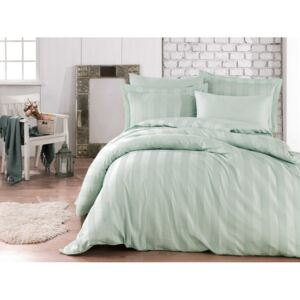 Lenjerie pat jacquard, Exclusive Satin, 6 piese, Hobby Home, Wafel - Sea Green