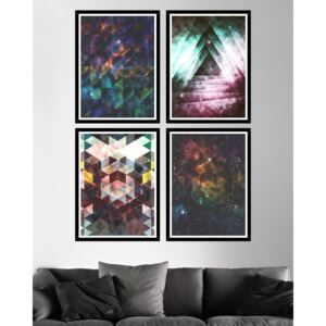 Tablou 4 piese Framed Art Galaxy Triangles