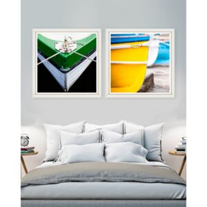 Tablou 2 piese Framed Art Green and Yellow Bow