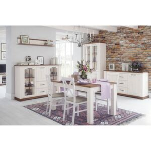 Set de mobila dining din MDF, 5 piese Country White / Oak