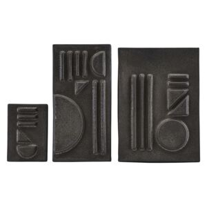 Set Forme Geometrice in Relief Negru STAINED - Ceramica Negru L(29.5x21x3cm) M(29.5x15x3cm) S(15x10 5x3cm)