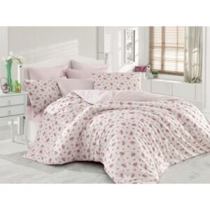 Lenjerie dubla Majoli Home Collection 4 piese bumbac ranforce Pinky lila