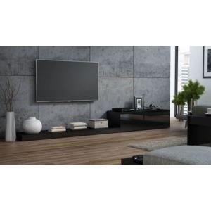 Comoda TV living Life, negru lucios, structura din pal si front din MDF, 300x42x35 cm lxAxh