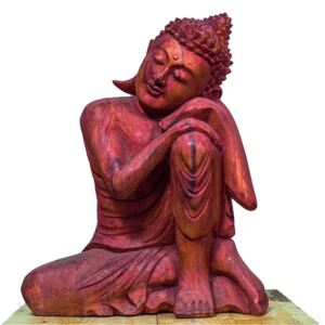 Statuetă Resting Buddha Red Wood, L