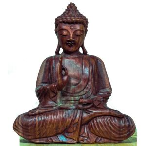 Statuetă Lacquered Wood Teaching Buddha, L