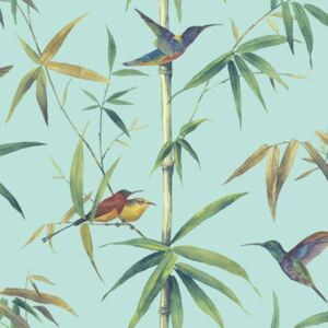 Noordwand Tapet Kolibri and Bamboo, turcoaz G56411