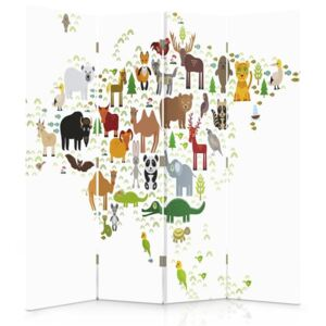 CARO Paravan - World Map For Children 1 | cvadripartit | unilateral 145x150 cm