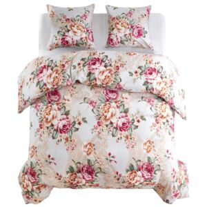Set husă pilotă model floral multicolor 240x220/60x70 cm