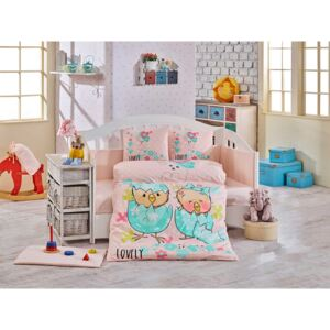 Lenjerie patut bebe, 4 Piese, Bumbac 100%, Hobby Home, Lovely, Roz, H3092