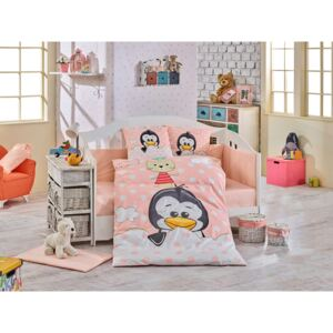 Lenjerie patut bebe, 4 Piese, Bumbac 100%, Hobby Home, Pinguin, Roz, H3090