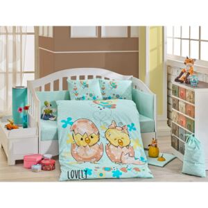 Lenjerie patut bebe, 4 Piese, Bumbac 100%, Hobby Home, Lovely, Mint Green, H3094