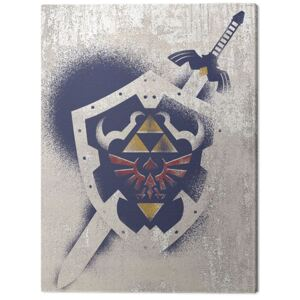 Tablou Canvas The Legend Of Zelda - Hylian Shield Stencil, (30 x 40 cm)
