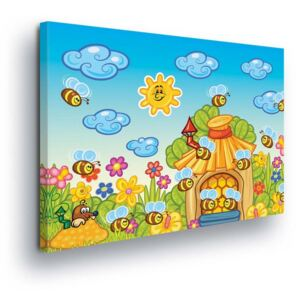 GLIX Tablou - Cartoon Bees 4 x 30x80 cm