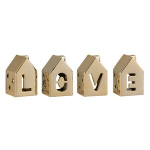 Love House Set 3 decoratiuni, Portelan, Auriu