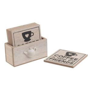 Coffe Set 6 Coastere, Lemn, Bej