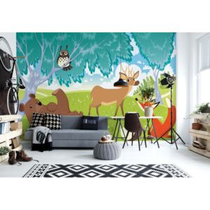 Fototapet GLIX - Cartoon Animals In The Forest + adeziv GRATUIT Tapet nețesute - 254x184 cm