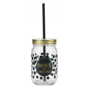 Cana cu capac si pai din plastic 8x13 cm Dance On The Table Miss Etoile
