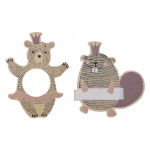 Set 4 decoratiuni din placaj 9,5 cm Forest Queens Bloomingville