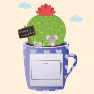Sticker intrerupator Teacup Cactus