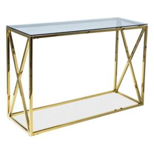 Consola Elise C, aurie, structura din metal si sticla securizata Gold, 120x40x78 lxAxh