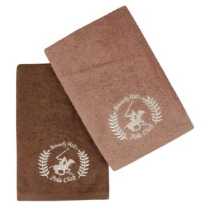 Set Prosoape De Maini Beverly Hills Polo Club Brown, 100% bumbac, 2 bucati, maro, 50x90 cm