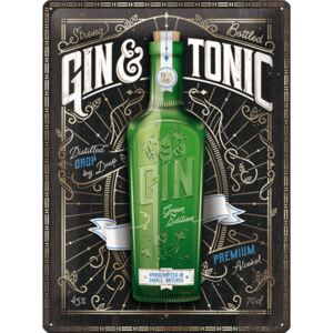 Buvu Placă metalică: Gin & Tonic Green Edition - 30x40 cm