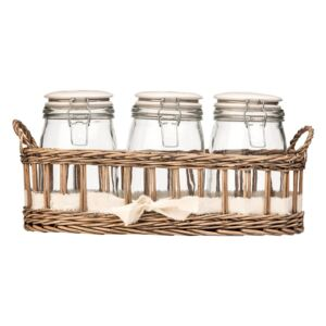 Set 3 recipiente depozitare cu suport Premier Housewares Country Cottage, 1000 ml