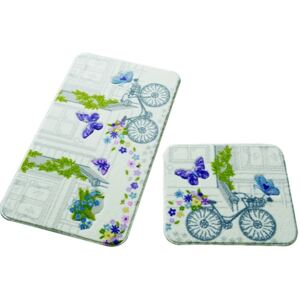 Set 2 covorașe de baie Confetti Bathmats Spilled Flowers Purple
