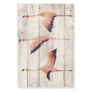 Decorațiune din lemn de pin pentru perete Madre Selva Flying Flamingo, 60 x 40 cm