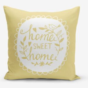 Față de pernă Minimalist Cushion Covers Home Sweet Home, 45 x 45 cm, galben