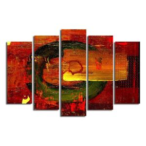 Tablou din mai multe piese Red Abstract Wall Art, 105 x 70 cm